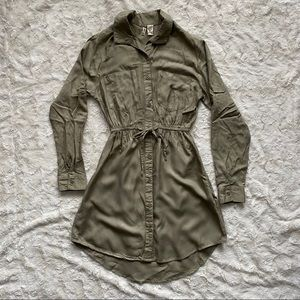 Japna Olive Green Long Sleeve Shirt Dress Short XS